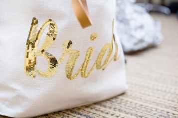 white tote bag with bride print