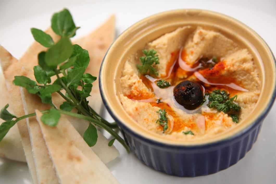 fresh hummus and pita bread
